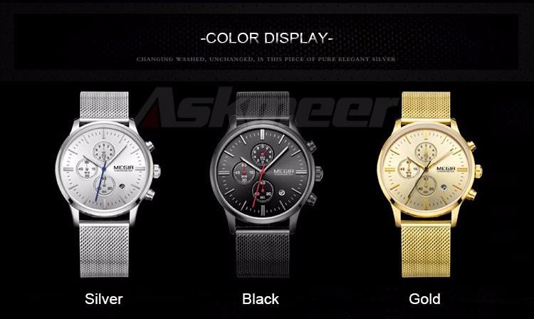 Megir Brand Men's Watch Clock reloj hombre Luxury Stainless Steel Mesh Strap Business Quartz Wristwatch Mens Watches (2)