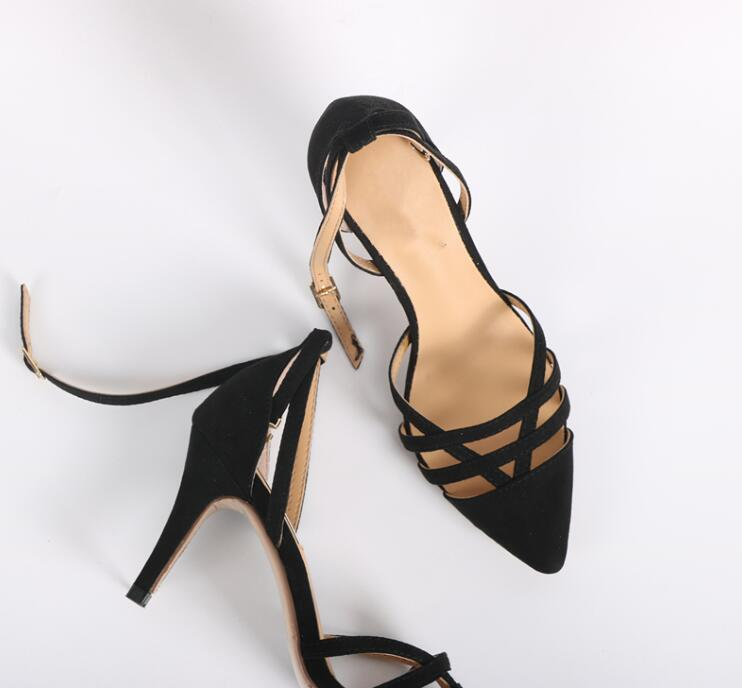 Hot Sweet Black Yellow Black Flat With Nude Microfiber Buckle Strap Cover Heel Women Shoe Thin Heels Big Size Women Sandals in High Heels from Shoes