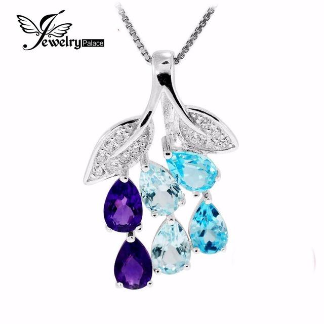 Céu Azul Topázio Topázio Azul Pear Cut 2.1ct Amethyst Gemstone Pingente Conjunto 925 Sólido Prata Esterlina 2016 Nova Marca Presente