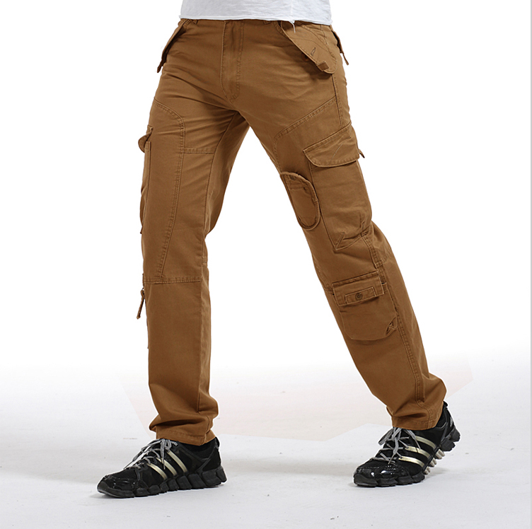 ФОТО New High-End Men's Heavy Multi-Pockets Cargo Pants Overall Full-Length Commando Style Loose Plus Size Men Summer Casual Trousers