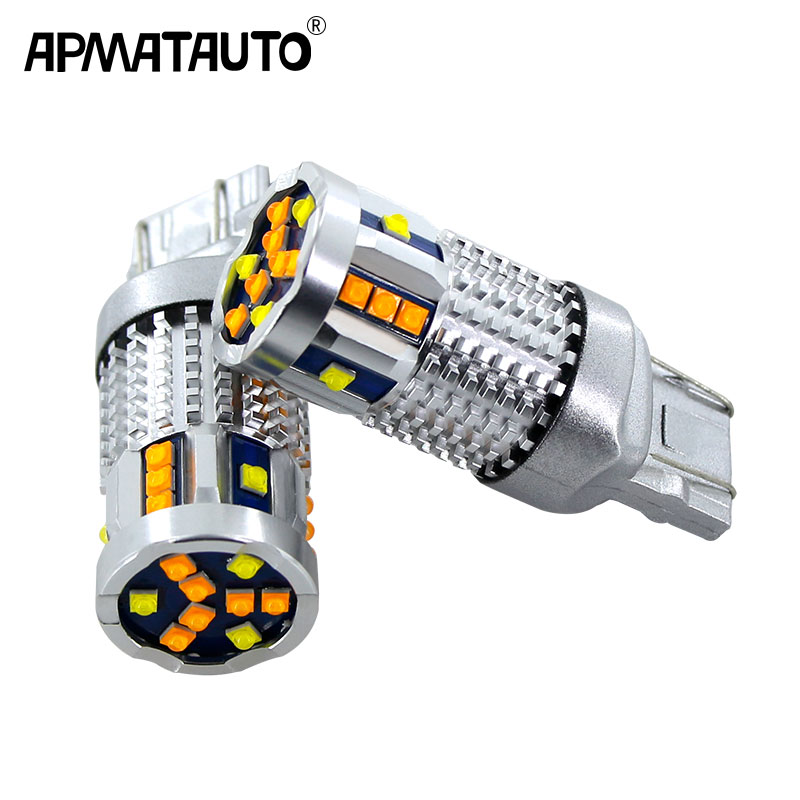 2x Car 7443 CANbus <font><b>T20</b></font> LED Switchback Dual Color LED Turn Signal Light DRL BulbsFor Chevrolet Malibu BUICK Opel Astra XT Encore image