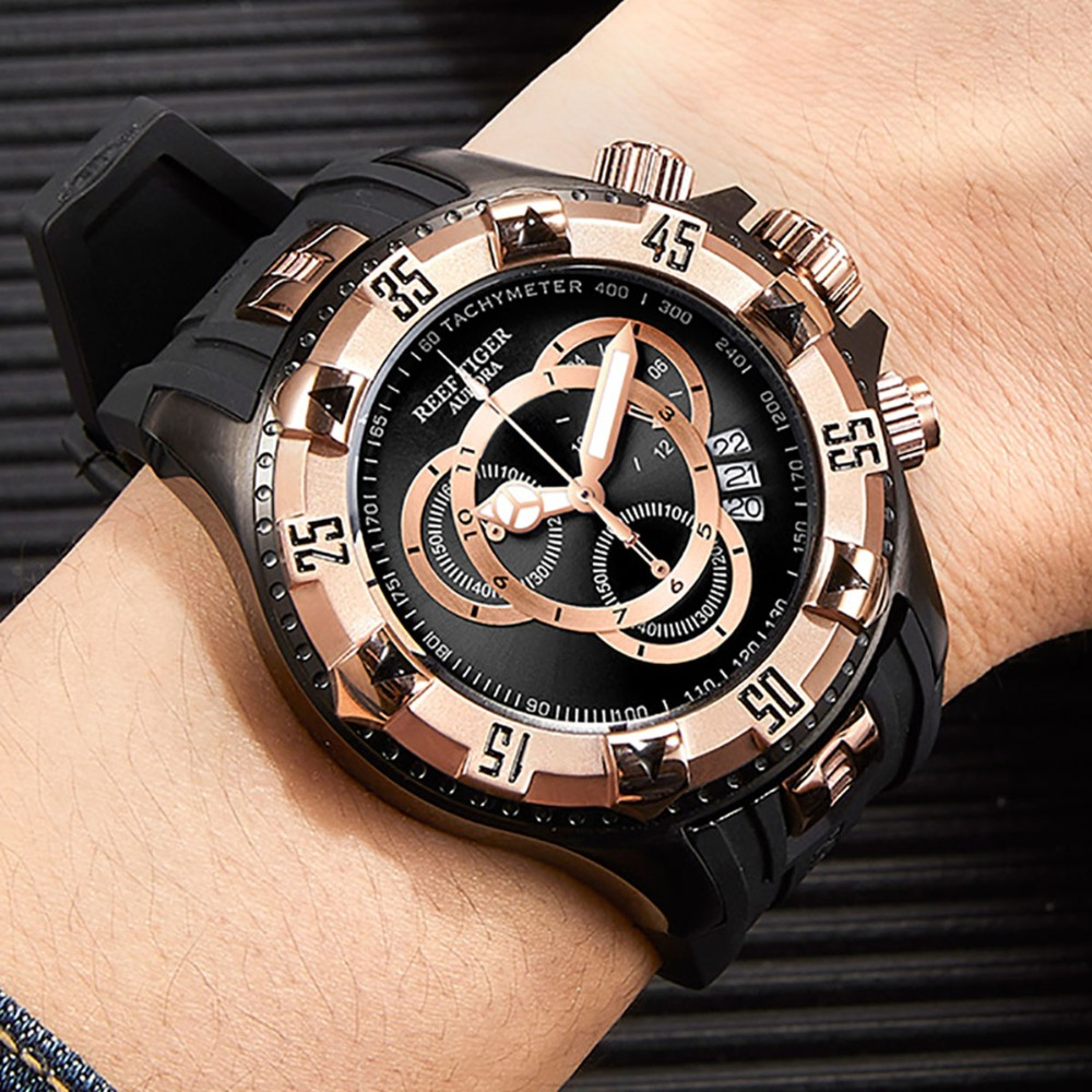 Reef Tiger RT Big Sport Watches Men Black Chronograph Watch Rubber Strap Big Date Watch Waterproof