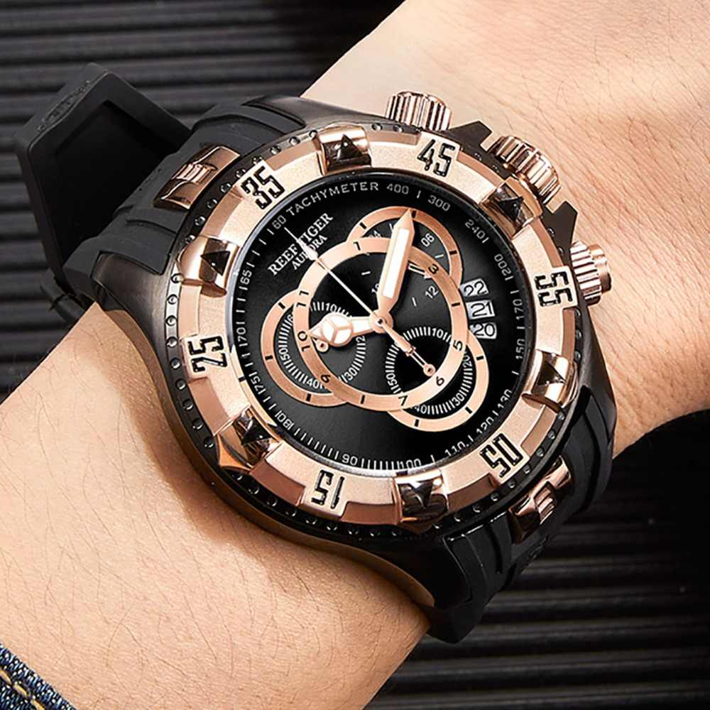 Reef Tiger/RT Big Sport Watches Men Black Chronograph Watch Rubber Strap Big Date Watch Waterproof Relogio Masculino RGA303-2