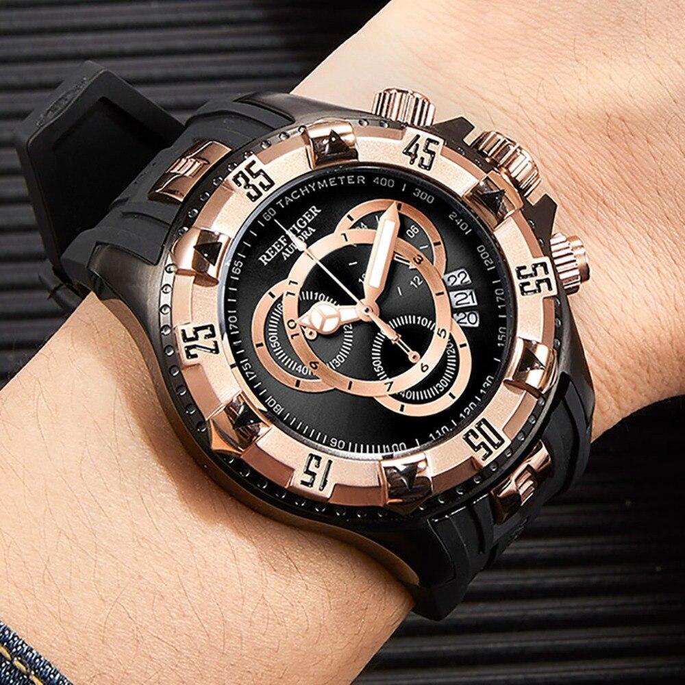 Reef Tiger/RT Big Sport Watches Men Black Chronograph Watch Rubber Strap Big Date Watch Waterproof Relogio Masculino RGA303-2 機械 式 腕時計 スケルトン