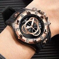 Reef Tiger/RT большие спортивные часы мужские черные часы с хронографом резиновый ремешок большие с датой часы водонепроницаемые Relogio Masculino RGA303 2