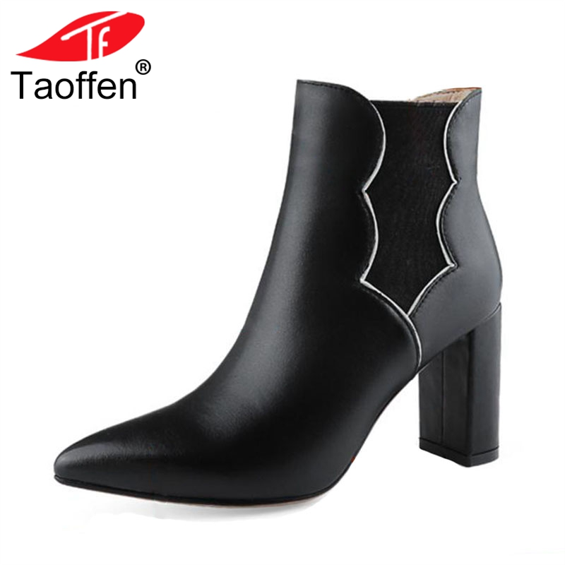 TAOFFEN Size 33-43 Ankle Boots Women Real Leather Woman Shoes Patchwork Warm Short Boots Warm Fashion Winter Ladies BootsTAOFFEN Size 33-43 Ankle Boots Women Real Leather Woman Shoes Patchwork Warm Short Boots Warm Fashion Winter Ladies Boots
