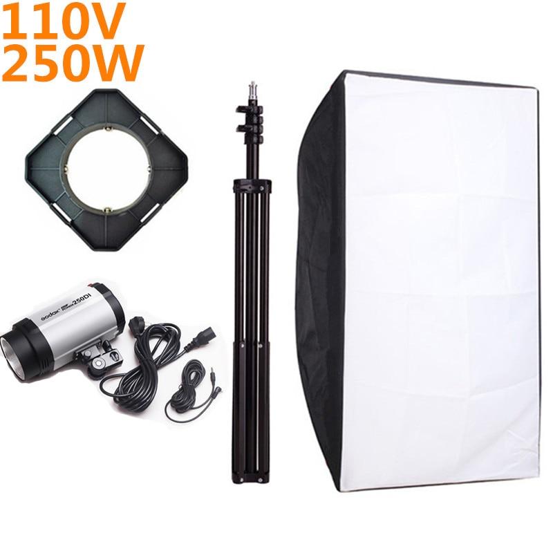 Godox 250DI Photography Softbox Flash Lighting Kits 110v 250ws Storbe Light Stand Lightbox+Universal Mount Set For Photo Studio