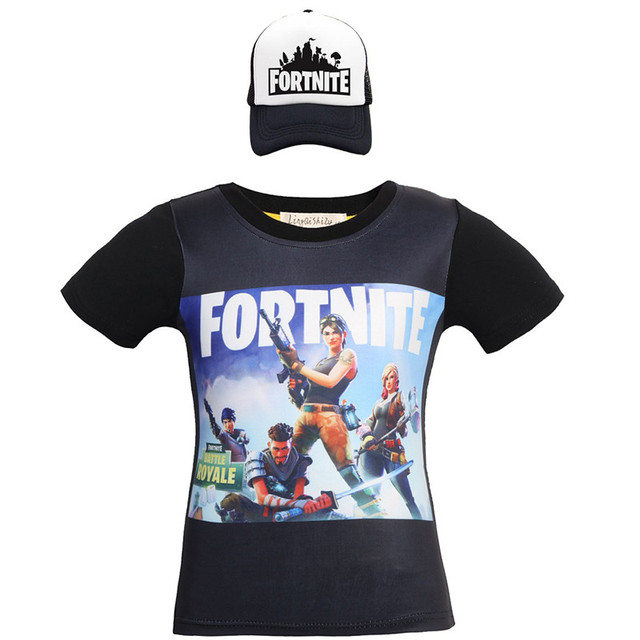 Battle Royale Boys Summer T-shirt cotton cartoon clothes Kids short Sleeve kids Girls Tops Tee  t shirts and Cap 2pcs costume 2