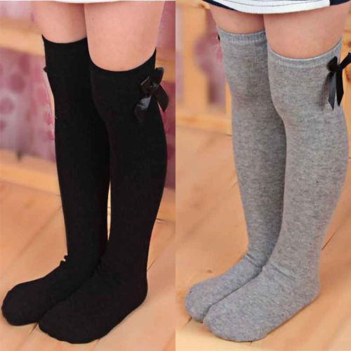Adorables niñas niños niño arco rodilla calcetines altos colores seda lazo 1 a 8 años