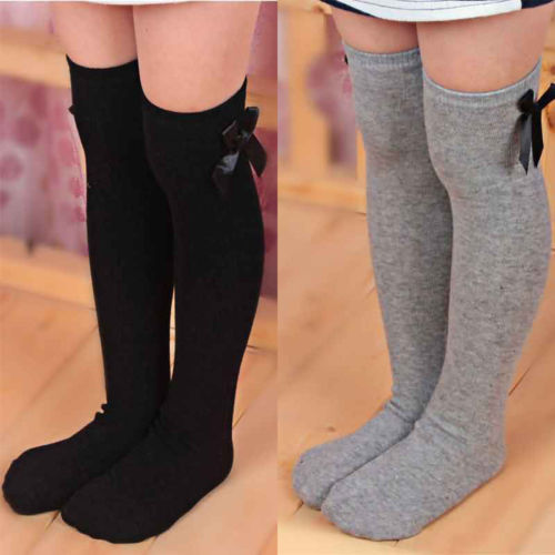 Lovely Girls Kids Toddler Bow Knee High Socks Colours Silk Bow 1 To 8 Years