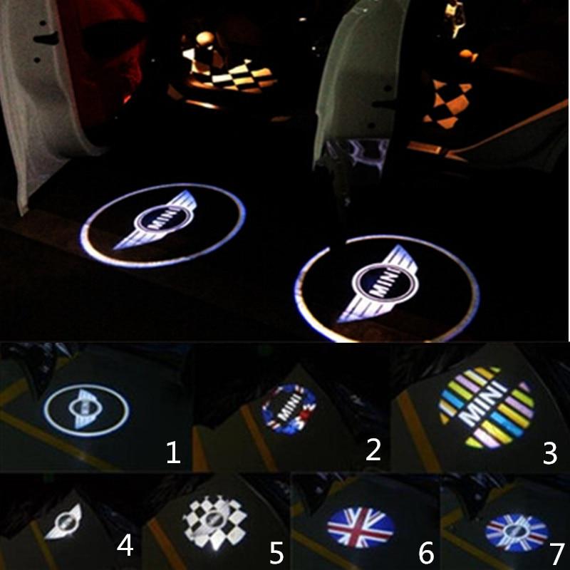 2x LED Car Door Warning Light Laser Projector Logo For MINI Cooper One S R55 R58 R59 R60 F55 F56 Countryman Clubman стоимость
