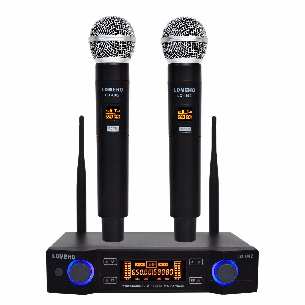 LO-U02 UHF Long Range Dual Channel 2 Handheld Mic Transmitter Professional Karaoke UHF Wireless Microphone System boya by whm8 professional 48 uhf microphone dual channels wireless handheld mic system lcd display for karaoke party liveshow
