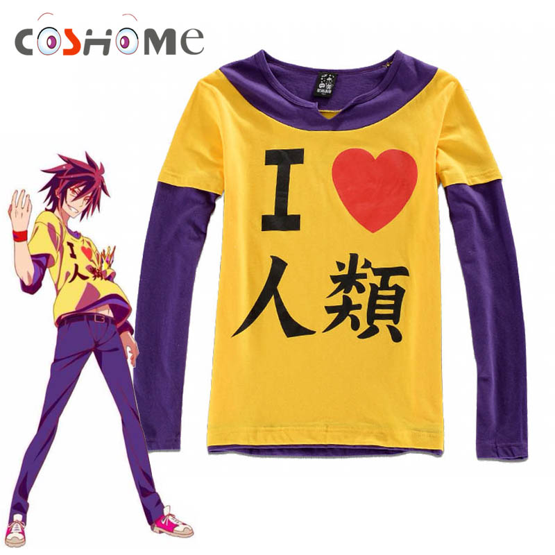 Coshome No Game No Life Sora Cosplay T Shirts Costumes Men Long Sleeves T-shirts Adult Yellow Tops Summer Tees