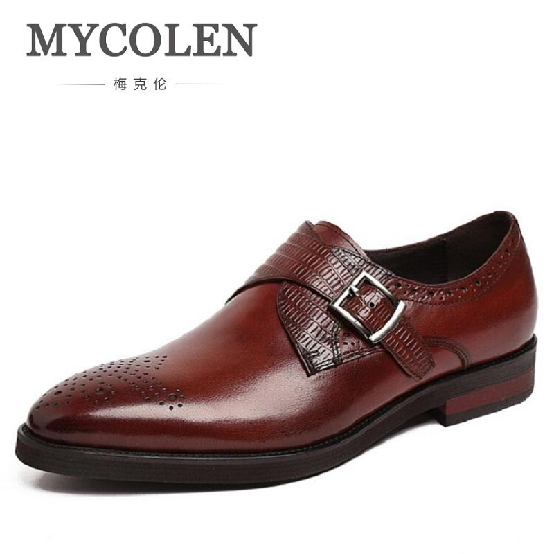 MYCOLEN Men Dress Shoes 2018 Brogue Oxford Leather Man Shoes Luxury Brand Formal Black Footwear Business Office Shoes For Men