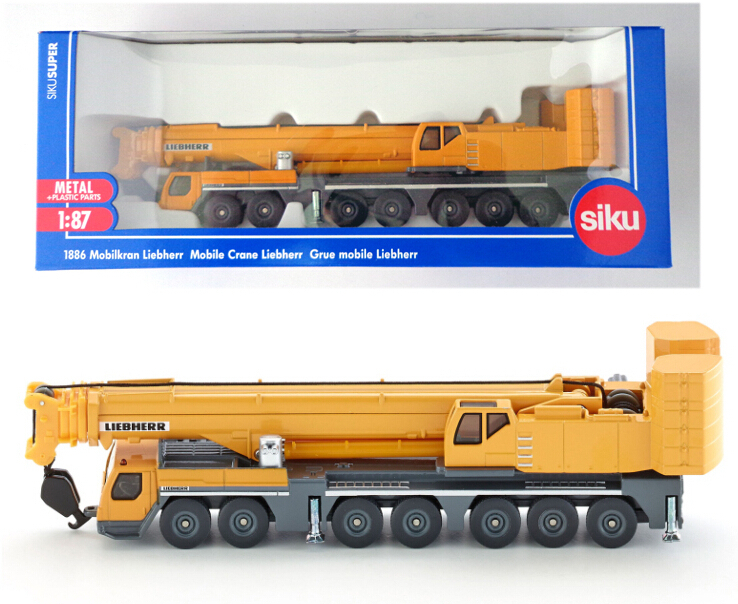 Super SIKU 1886 Diecast Cars 1 : 87 Scale Alloy Sliding Construction Crane Model Project Car Toys, Children's Educational Toys