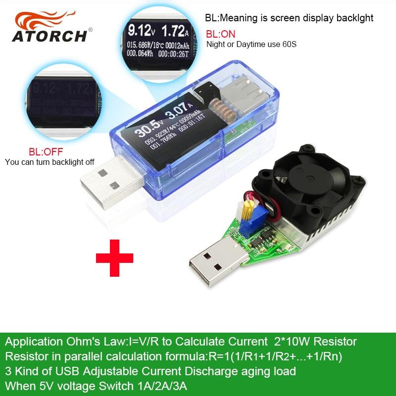 Tester USB ATORCH + carico CC Voltmetro digitale banca di potenza 15W Indicatore di carica invecchiamento misuratore di tensione per auto rilevatore medico