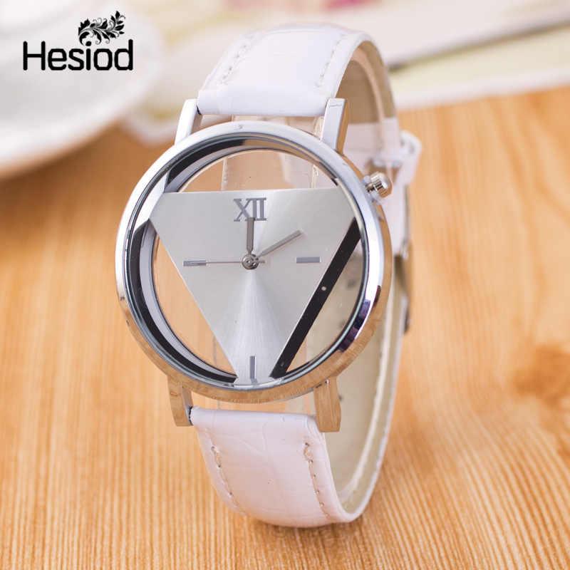 Hesiod novo design moda senhoras relógios elegante triângulo oco relógio moda feminina fina pulseira de couro relógio de quartzo