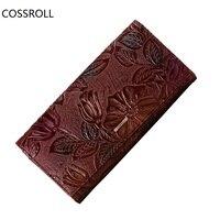New Luxury Brand Women Wallets Genuine Leather Wallet Long Flower Pattern Women Purses Real Leather Ladies