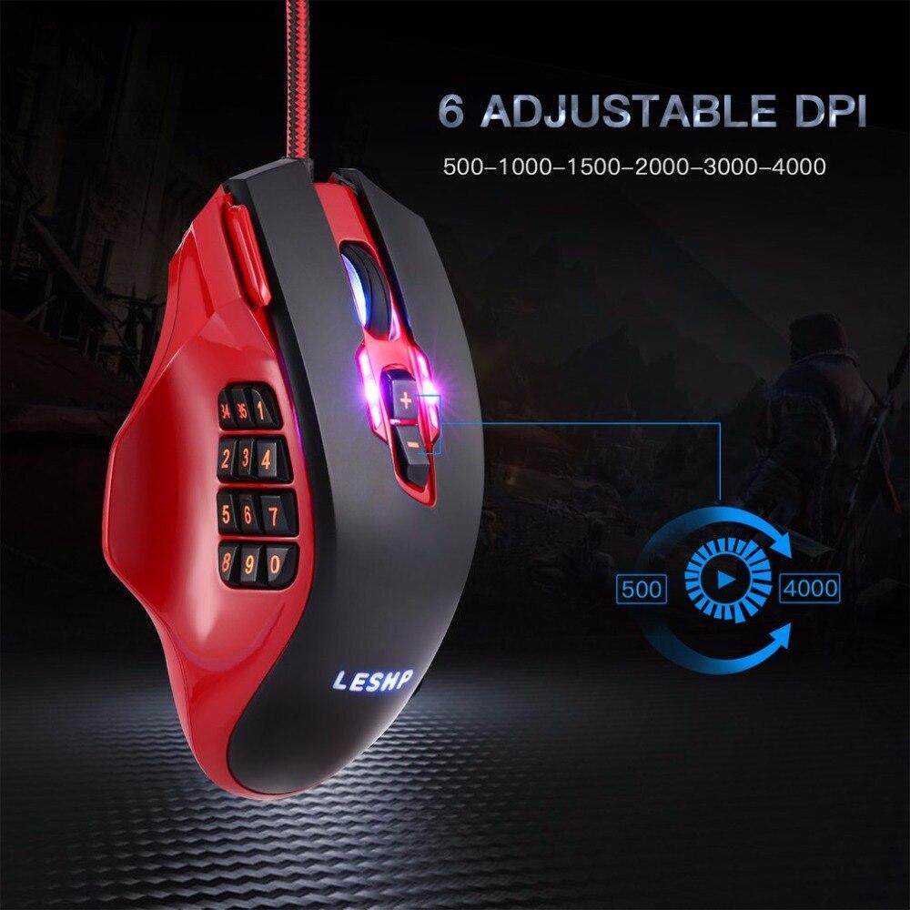 LESHP 19 touches souris de jeu RGB professionnelle 3D optique filaire souris de jeu Laser avec boutons latéraux et rétro-éclairage réglable