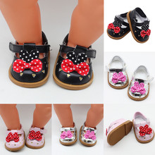 Mini Toy Shoes 7cm Pink White Black Fashion for 18 inch American Dolls 43cm Height Girl Doll