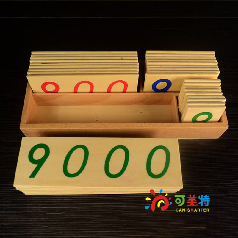ФОТО Montessori Education 1-9000 Counting Small Card Beech Wood Math Tools Early educational toys  Can Smarter Free Shipping