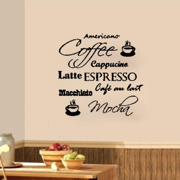 Aliexpress.com : Buy Coffee Cafe Cappucino Latte Mocha Wall Decals ...