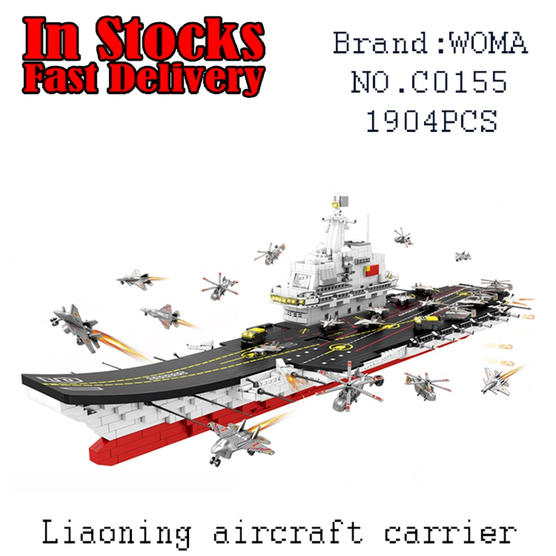 WOMA Military  LiaoNing Aircraft Carrier C0155 1904pcs Building Blocks Bricks educational toys for children  brinquedos military star wars spaceship aircraft carrier helicopter tank war diy building blocks sets educational kids toys gifts legolieds