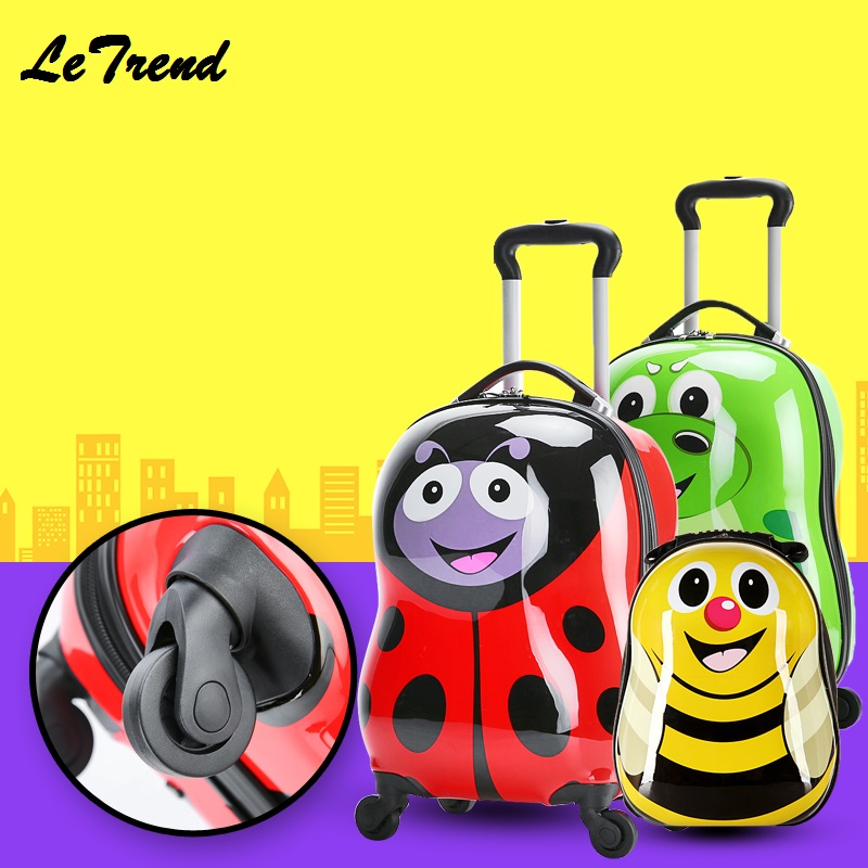 Cartoon 18 Rolling Luggage+Backpack 3D Animals Children Suitcase Travel Suitcase With Wheels Custom Laser Engraving vintage suitcase 20 26 pu leather travel suitcase scratch resistant rolling luggage bags suitcase with tsa lock