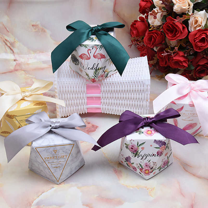 Sale Diamond Shaped Gift Candy Boxes for Wedding Bags Candy Box Favor Multicolor Sweet 10PCS/Set Birthday Wedding Baby Shower