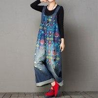 2019 Oversize Wide Leg Denim Rompers Women Vintage Printed Flower Jean Jumpsuits Large Size Straps Denim Overalls