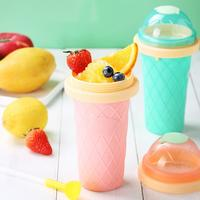 Homemade DIY Ice Cream Maker Cup Smoothie Mug Summer Fast Cooling Water Bottle With Spoons Liner Lid Kitchen Dessert Tools