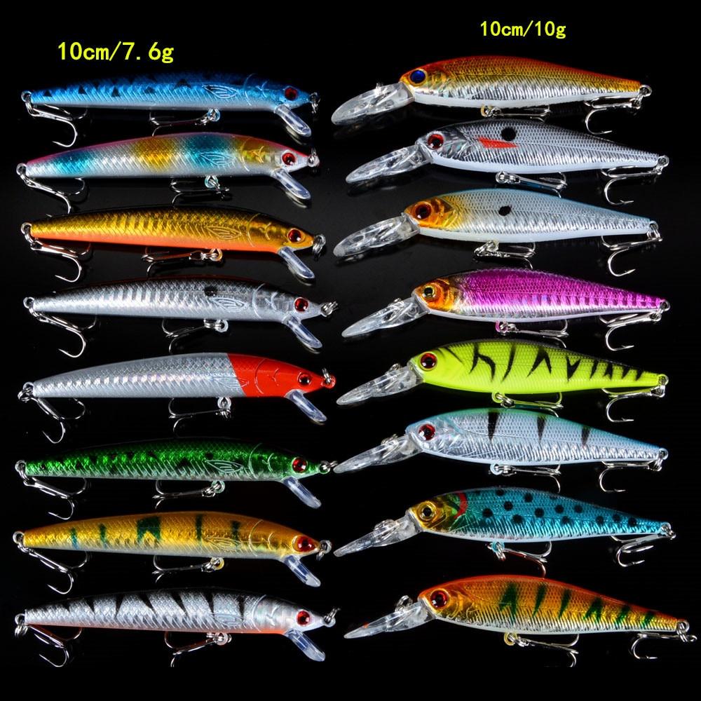 Set Mixed 16pcs/Lot 2 Models Minnows Fishing Lures Jerkbait High Quality Fishing Tackle 6# Hooks