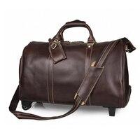 Новая мужская дорожная сумка из натуральной кожи винтажная коровья кожаная сумка для багажа дорожная сумка большой емкости чемодан для баг