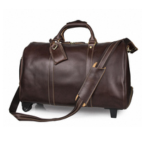 New Men's Genuine Leather Travel Bag Vintage Cow Leather Luggage Bag Travel Duffle Large Capacity Trolley Luggage Bag