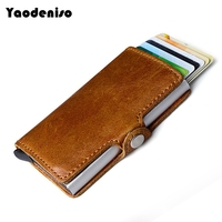 Yaodeniso NEW Men Blocking Rfid Wallet Genuine Leather Business Aluminium Credit Card Holder Purse Automatic Pop