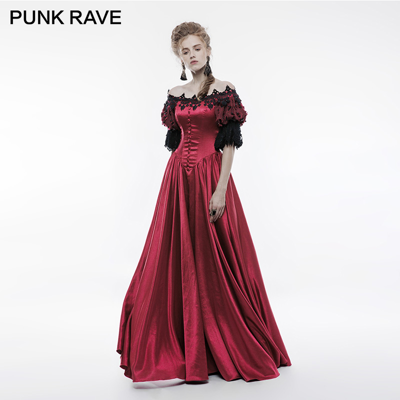 PUNK RAVE Gothic Victorian Vintage Palace Long Dress Red Satin Retro Bubble Sleeve Lace Flowers Christmas