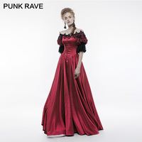 PUNK RAVE Gothic Victorian Vintage Palace Long Dress Red Satin Retro Bubble Sleeve Lace Flowers Christmas Party Halloween Club