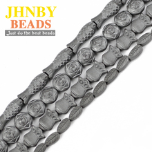 JHNBY Matte Roses Owls leaves Fish Black Hematite beads Natural Stone Loose beads for Jewelry bracelet Making DIY Accessories цена