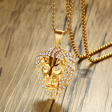 Hip Hop Stainless Steel Gold Rhinestone Lion Head Necklace & Pendant For Men Jewelry Dropshipping
