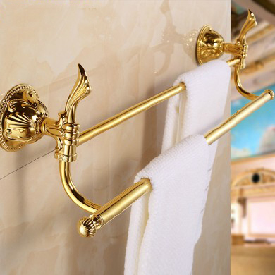 Free shipping (24,60cm) Double Towel Bar Golden finishing/Towel Holder,towel rack,Bathroom accessories bath LG014