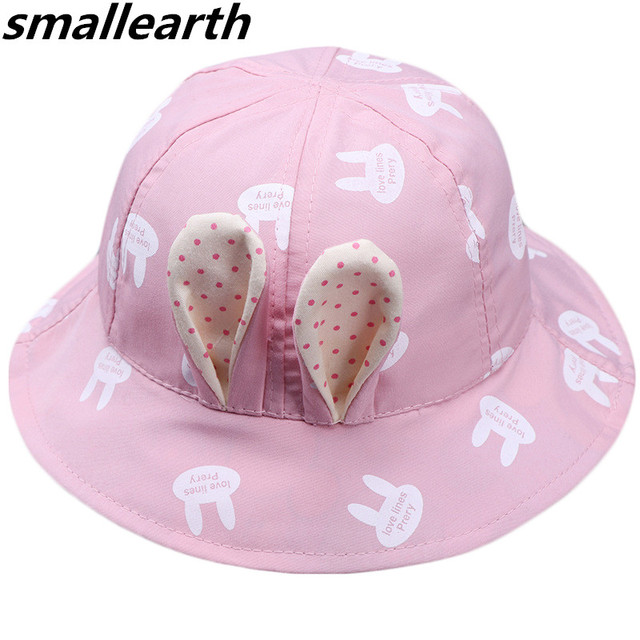 e13f23bff82d0d 2019 New Spring Summer Baby Girl Sun Hat with Bunny Ear Children Bucket Hats  Cute Cotton