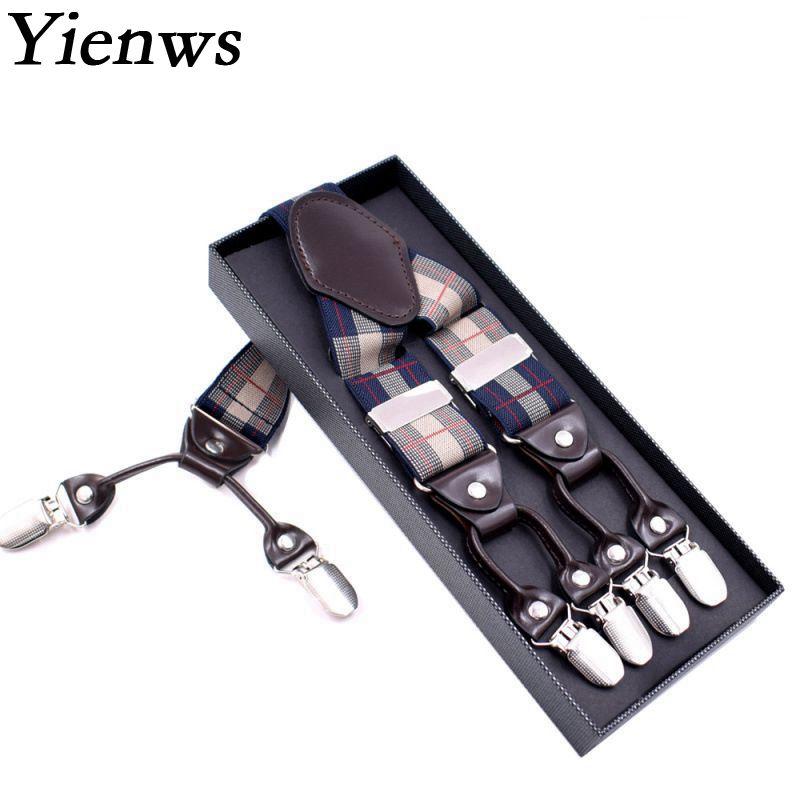 Yienws 48.75 Inch Suspensorio Adulto Leather Suspenders For Men 6 Clip Lattice Mens Braces For Trousers Sus06