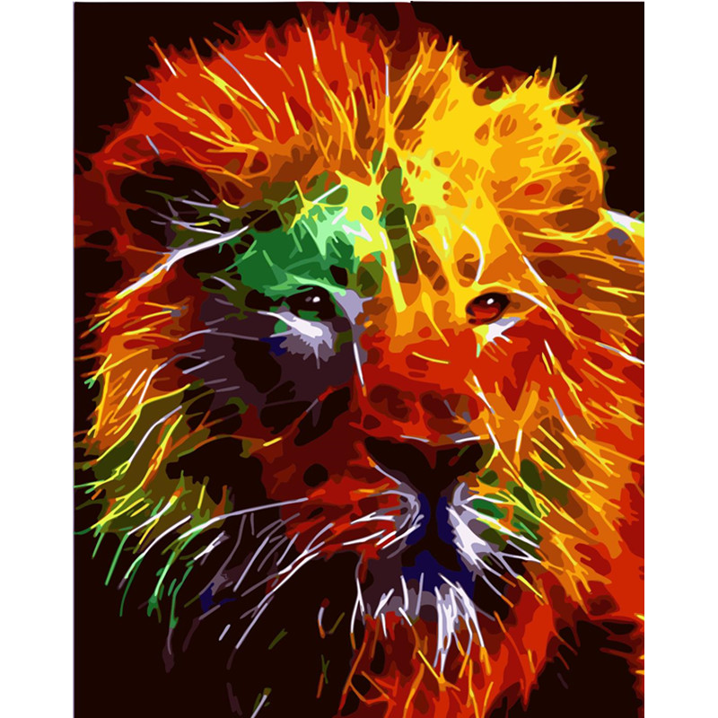 Best Product  Painting By Numbers DIY Dropshipping 40x50 50x65cm Animal Canvas Wedding Decoration Art picture Gif
