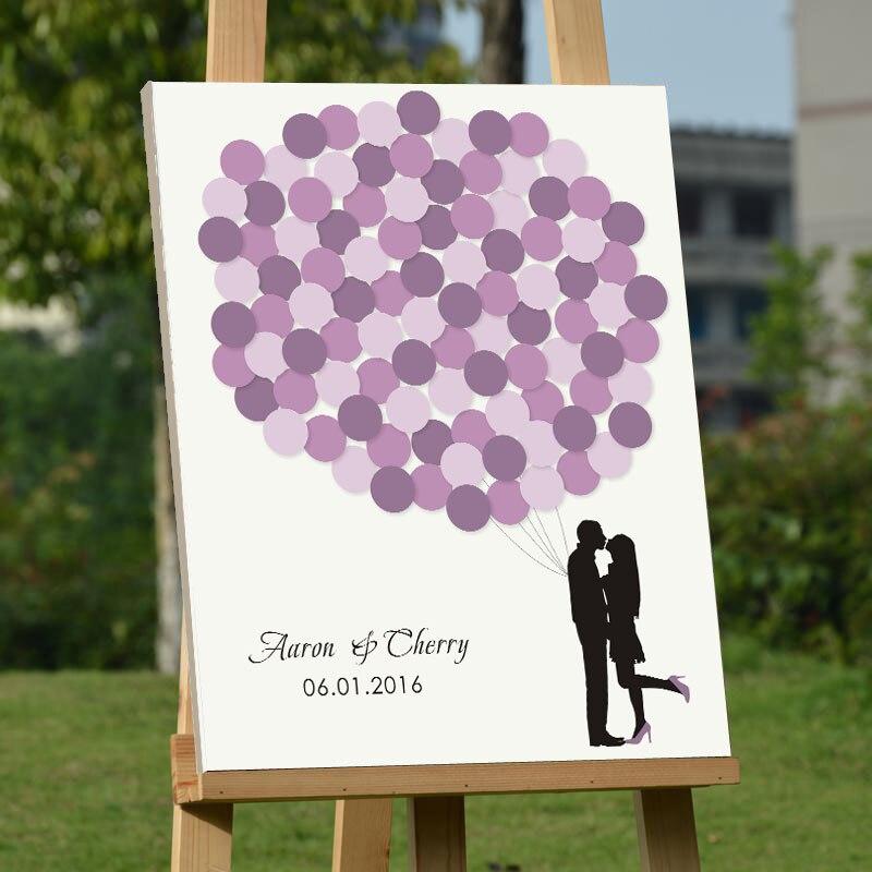 Personalized Thumbprint Tree Wedding Guest Book Alternative: Custom Balloons Signature Guestbook Tree Fingerprint Wood