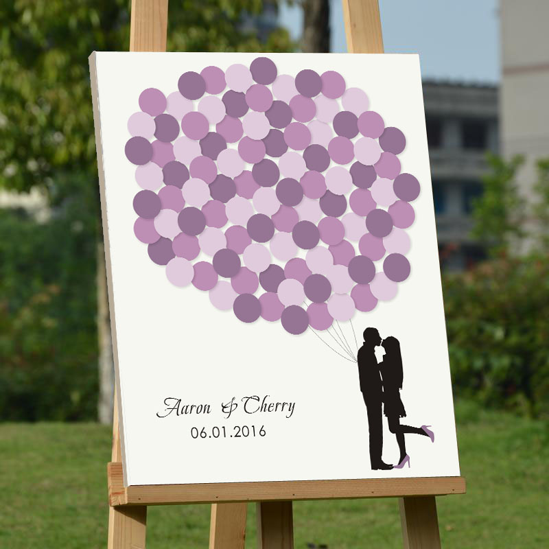 custom balloons signature guestbook tree fingerprint wood frame wedding guest book alternative prints purple wedding decorations