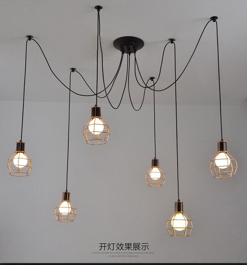Pequeña jaula Luces colgantes personalidad Vintage Loft industrial - Iluminación interior - foto 3