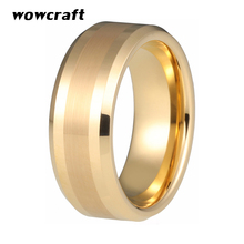 цена 8mm Tungsten Ring Gold For Men Women Brushed and Polished Finish Engagement Wedding Band Jewelry Anniversary Tungsten Jewelry в интернет-магазинах