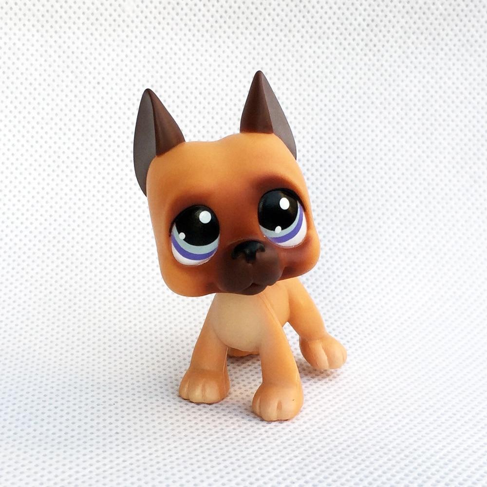 Pet Shop Toys Real Rare Animal Figure  Great Dane #244 Light Brown Dog Purple Eyes Kids Christmas Gift Free Shipping