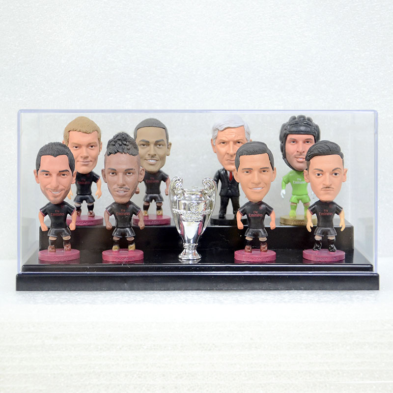 9pcs/set Arsenal soccer star dolls Fan souvenirs action figures ALEXIS OZILL AUBAMEYANG figurine with the display box nice gift