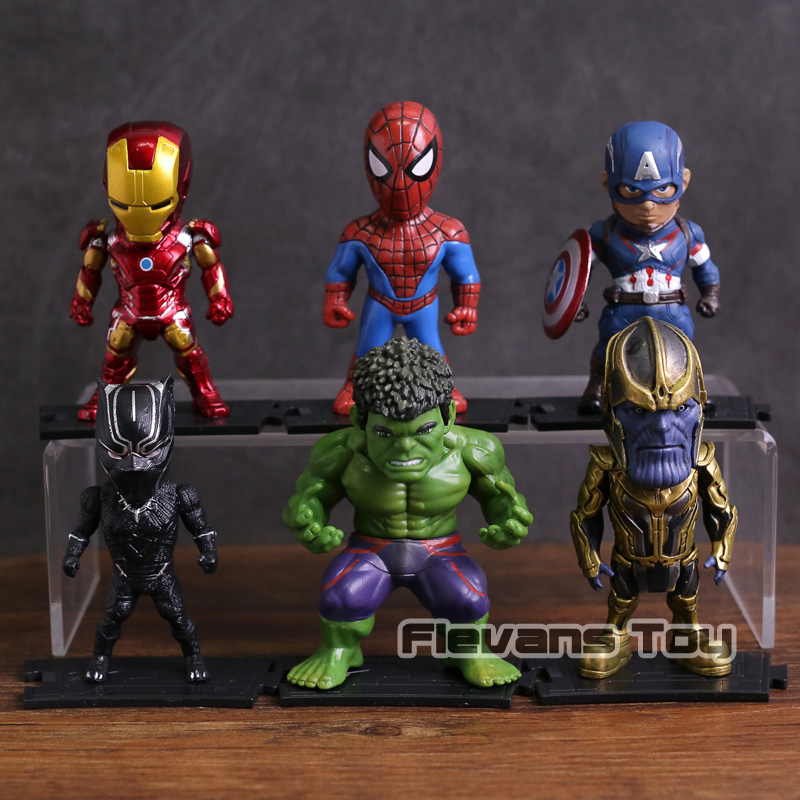 Avengers Infinity War Iron Man Captain America Spiderman Hulk Black Panther Thanos PVC Figures Toys 6pcs/setAvengers Infinity War Iron Man Captain America Spiderman Hulk Black Panther Thanos PVC Figures Toys 6pcs/set